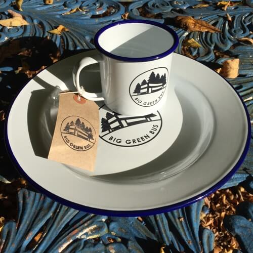 Falcon enamelware mug and plate